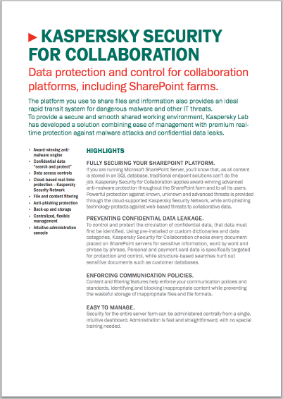 Kaspersky Security for Collaboration - Data Sheet